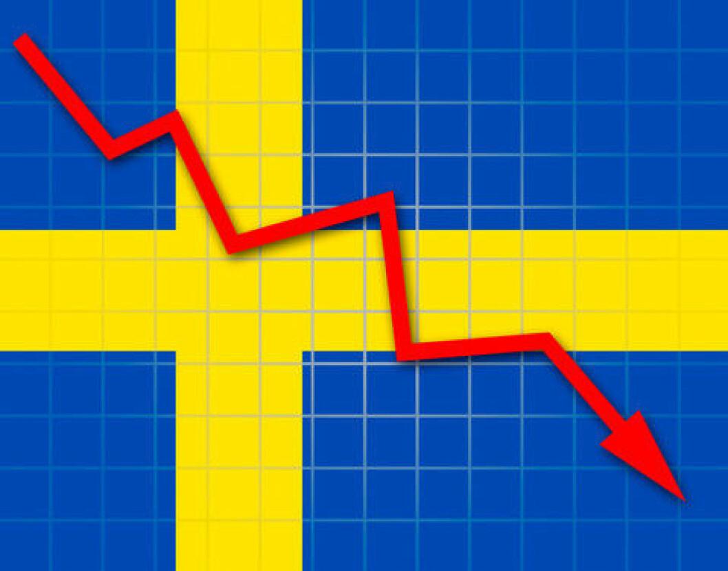 Svensk flagg med nedadgående pil