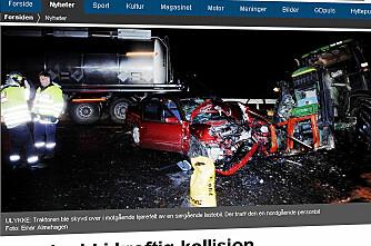 Tre skadde i kraftig kollisjon med traktor