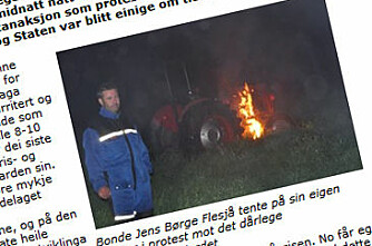 Tente på traktor i protest