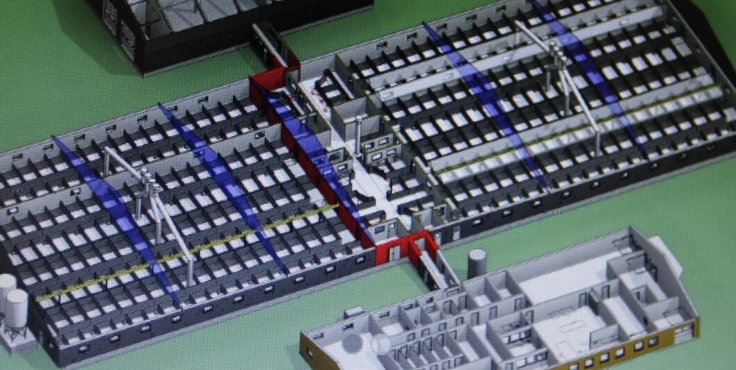 Plantegning av den nye seminstasjonen med tilstøtende laboratorier.