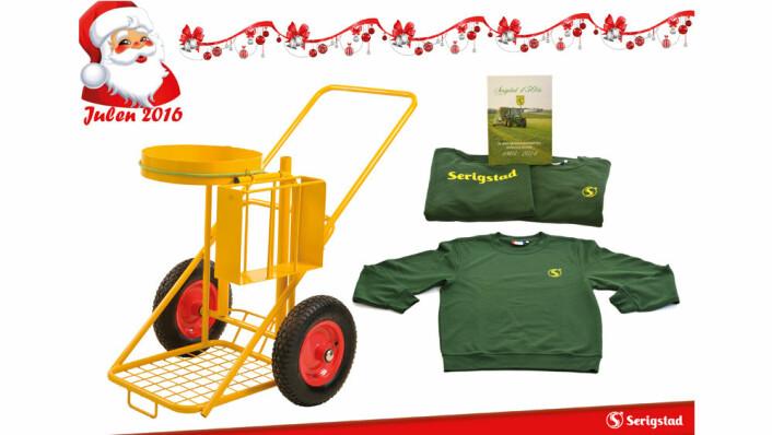 Premie 19. desember: Avfallstralle, jubileumsbok, gensar og t-skjorte frå Serigstad Agri.