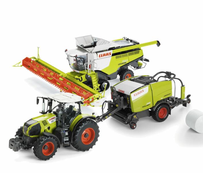Premie 14. desember: Claas modelltraktor, Rollant kombipresse og Lexion skurtreskar.