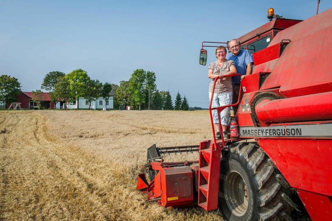Sju forskjellige Østfold-bønder leverer korn til Hansa Borg Bryggerier, deriblant Ingunn og Karl Fredrik Motzfeldt i Rakkestad. (Foto: Hansa Borg Bryggerier)