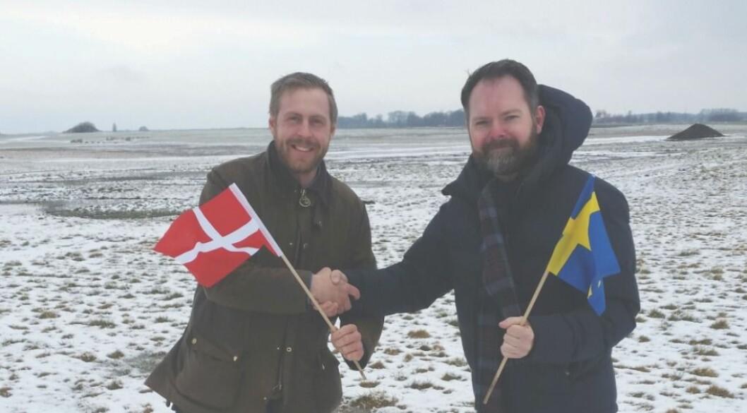 Andreas Mårtensson fra Borgeby Fältdagar (t.h.) og Claus Hermansen fra Agromek har inngått et samarbeid for å øke kjennskapen til de to messene i de respektive landene. Foto: Agromek