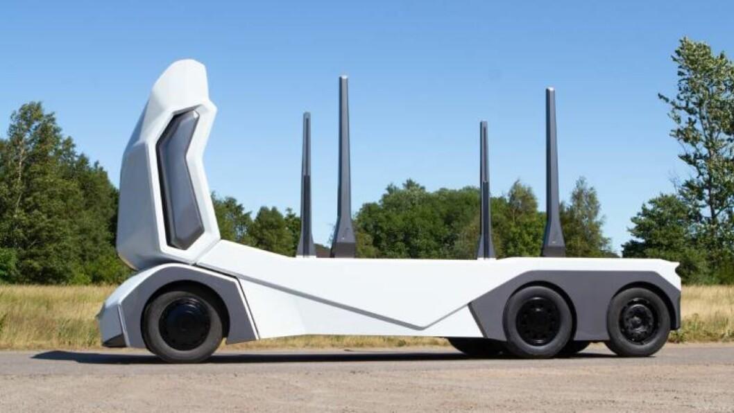 T-log er en tømmerbil uten førerhytte og med el-drift utviklet av Einride. Foto: produsenten