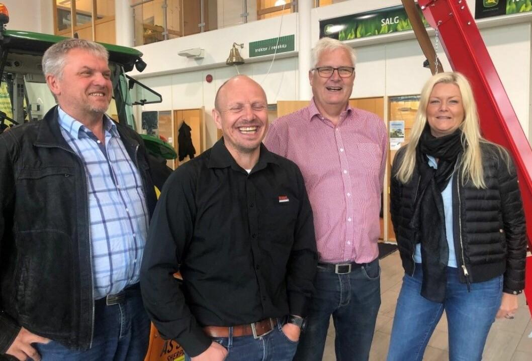 God stemning i utstillingskomiteen, som består av (f.v): Olav Røysland, leder Agrovisjon og utstillerkomiteende, Vidar Haukalid, Jon Magne Torsteinsbø og Anniken Lima Øgreid.