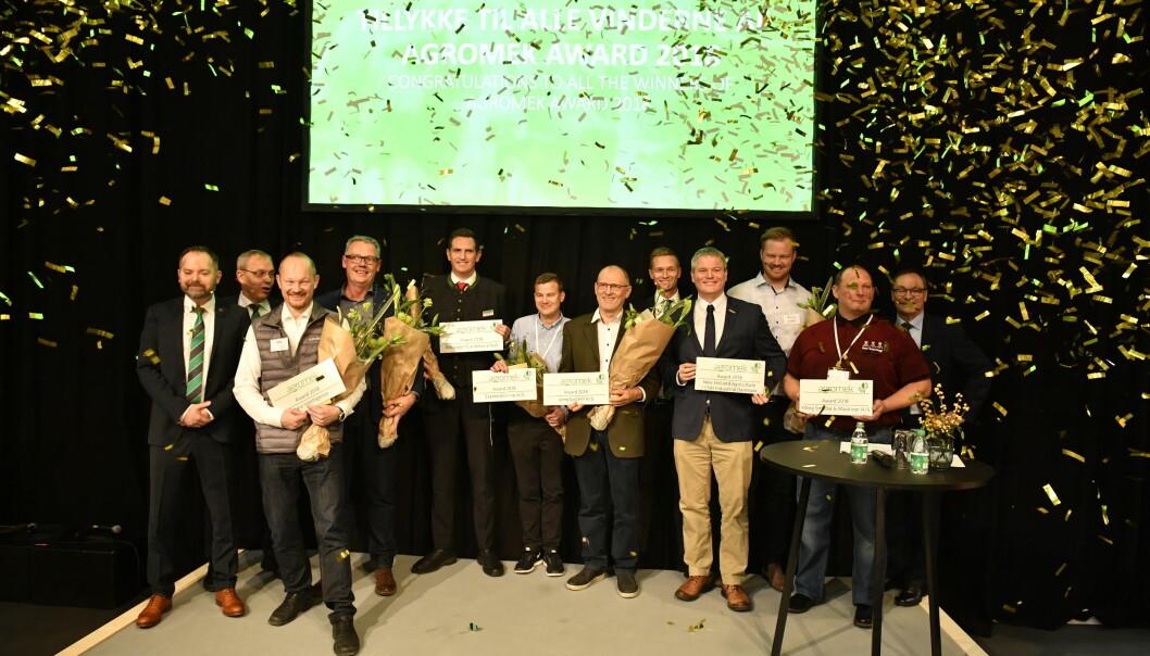 Til tross for utsettelse blir det stjernedryss på Agromek i år. Her ses Award-vinnerne fra messa i 2018.