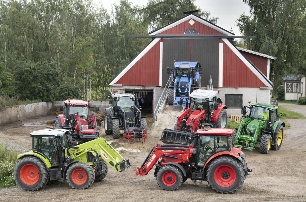 Traktorene vi har testet i 2021 er John Deere 6120M, Massey Ferguson 5712S, New Holland T.5 120, Claas Arion 440, McCormick X6.420, Zetor Forterra 120 og en prototype av Valtra G 115.