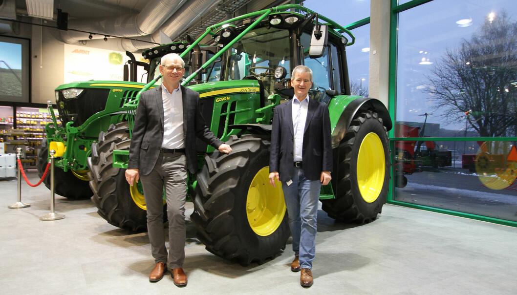 Frode Dahl, styreleder i TLIF (t.v.) og Trond Andersen, prosjektleder Norges Varemesse (t.h.) er godt i gang med forberedelsene til Agroteknikk 2021.