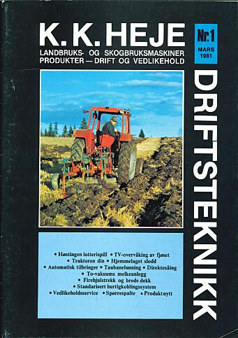 Den første forsida til K.K. Heje driftsteknikk.
